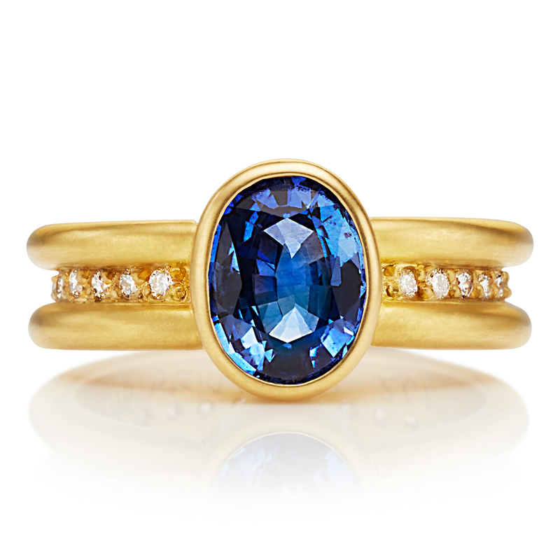 20K Peach Gold Shimmer Mini Ring with Oval Blue Sapphire
