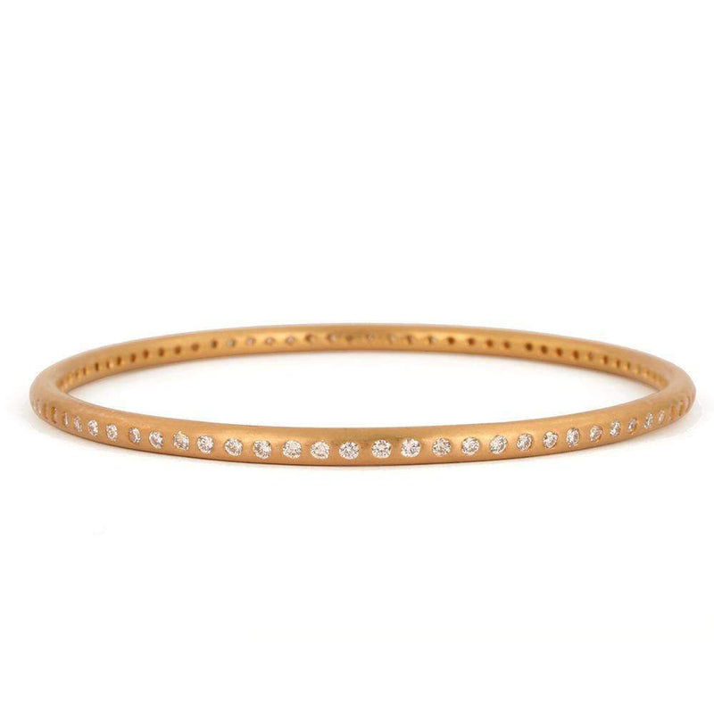 22K Apricot Gold Round Bangle with Many Diamonds