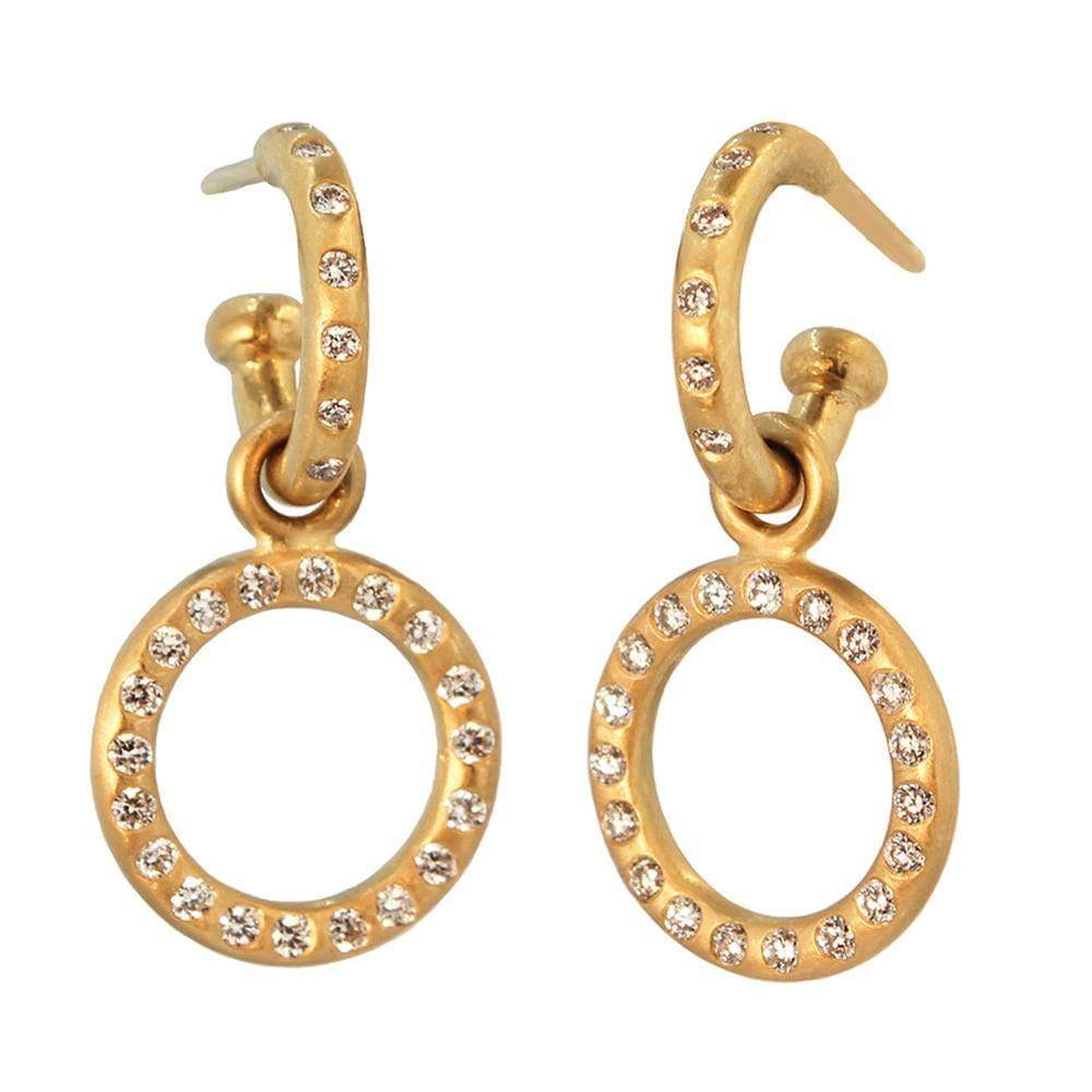 Small Diamond Loop Drops 22K Apricot Gold