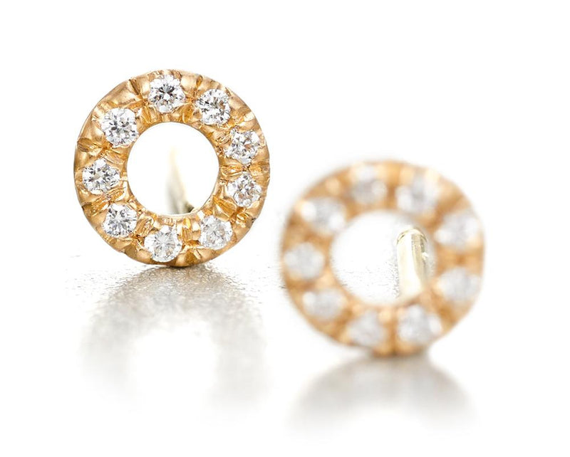 20K Peach Gold Circle Stud Earrings