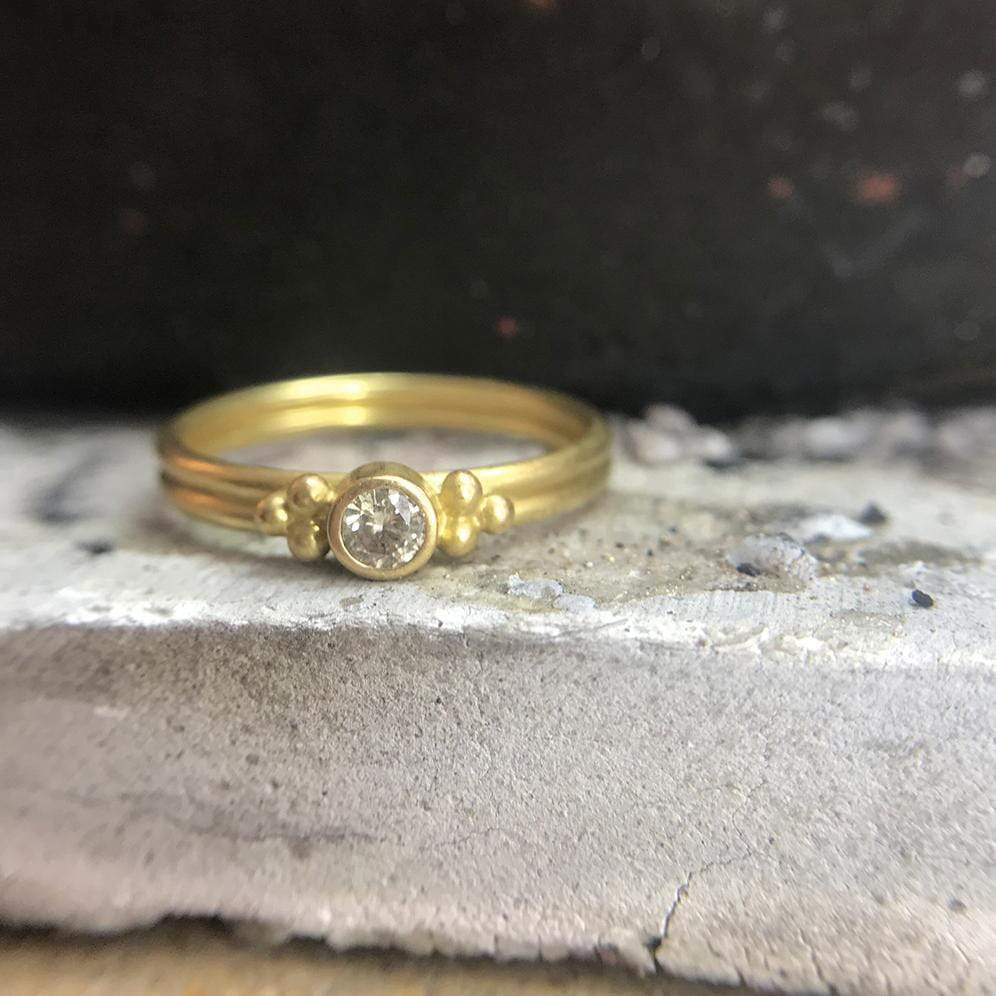20K Peach Gold Dyan Ring with Diamond