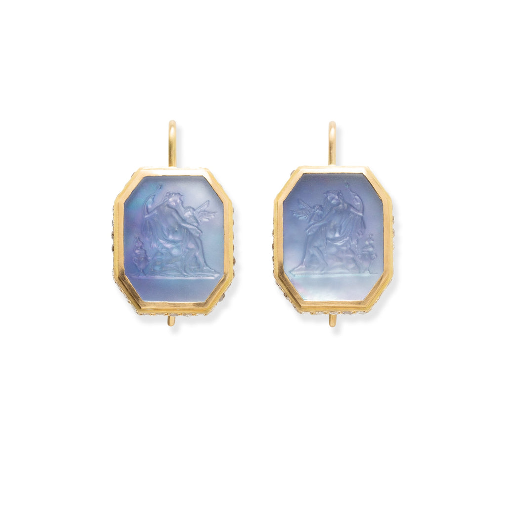 Aphrodite & Cupid Carved Crystal Quartz & Lapis Triplet Earrings