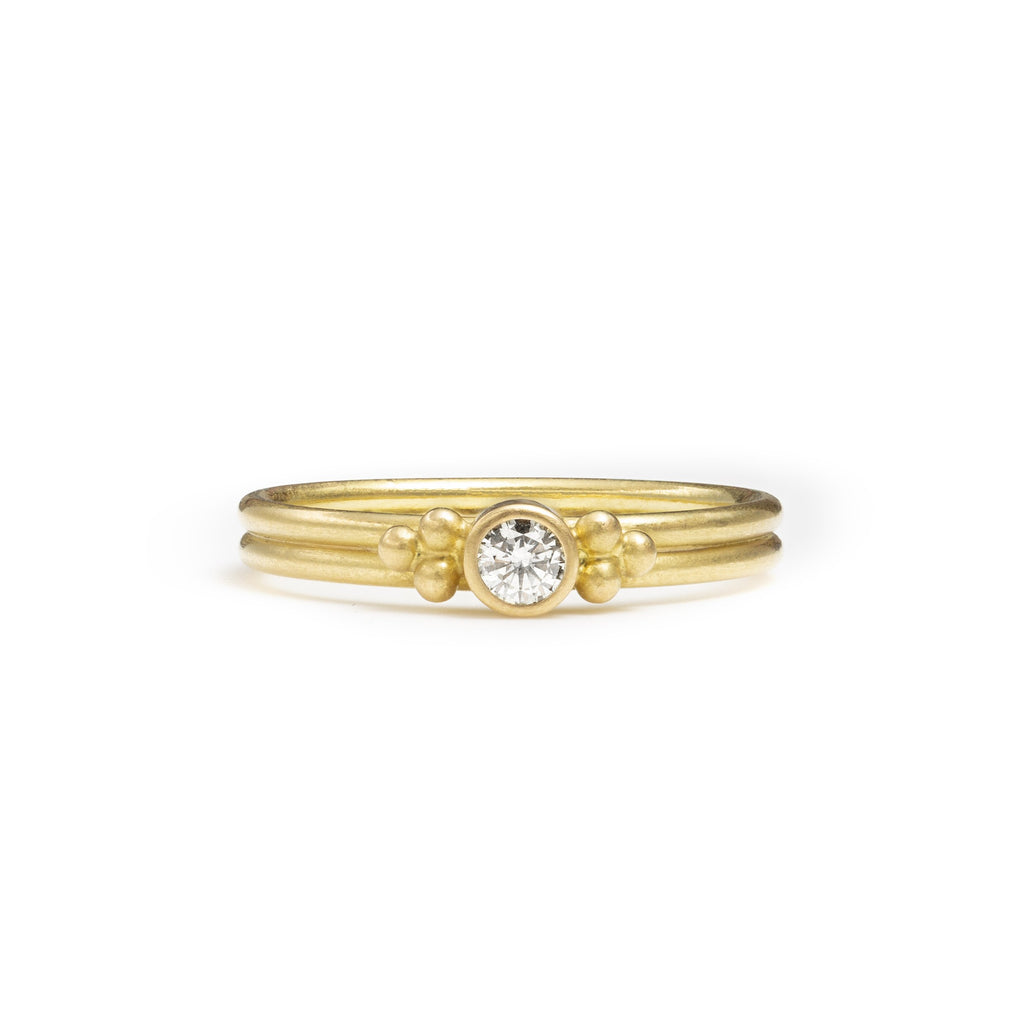 20K Peach Gold Dyan Ring with Champagne Diamond