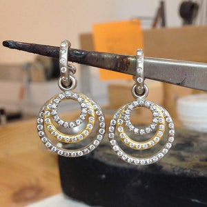 18K White Gold Tiny Diamond Loop Drops