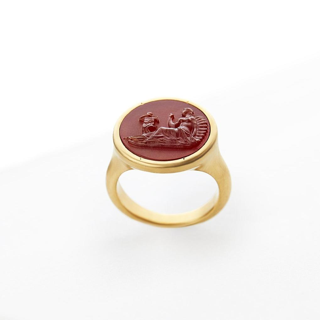 Ariadne & Cupid Carved Red Carnelian Signet Ring