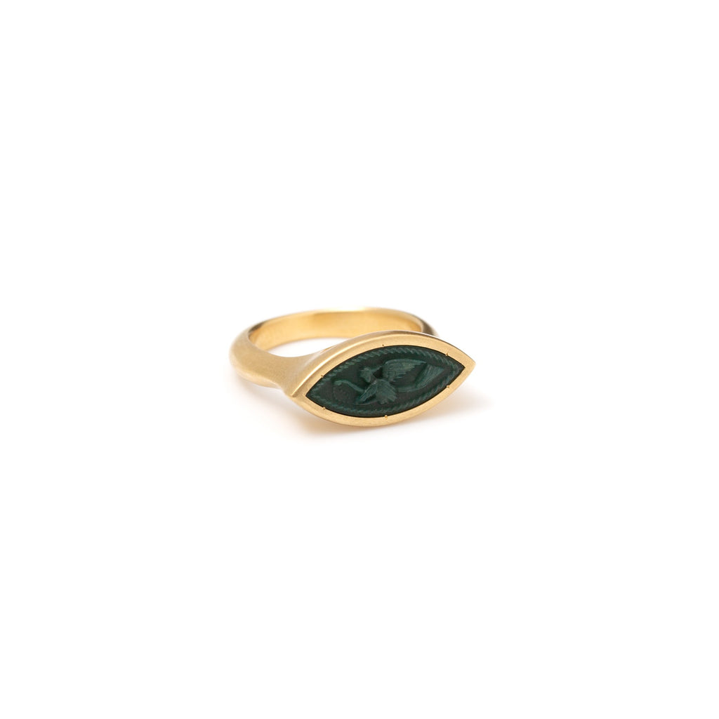Flying Nike Carved Nephrite Signet Intaglio Navette Ring
