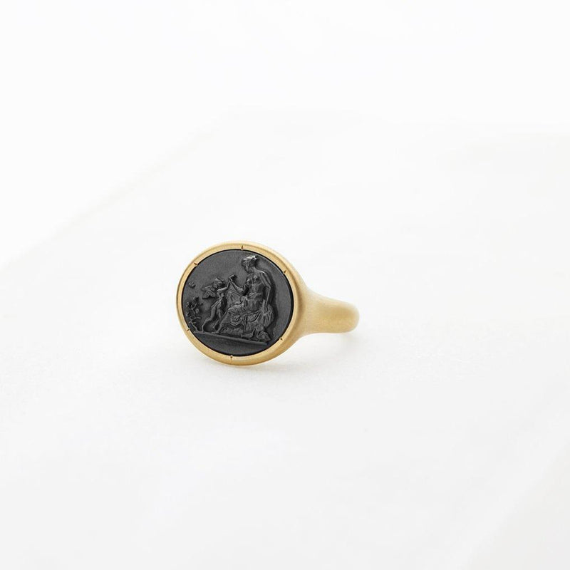 Aphrodite & Cupid Carved Hematite Signet Ring