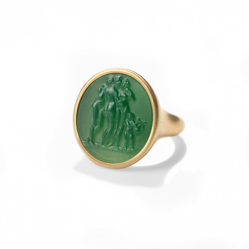 Three Graces Carved Green Chalcedony Signet Ring