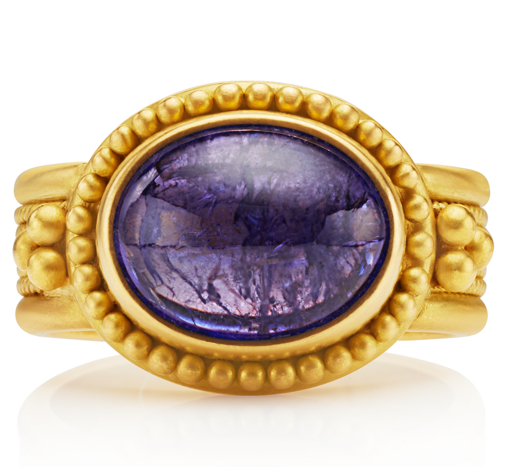 20K Peach Gold Salome Ring with Oval Tanzanite