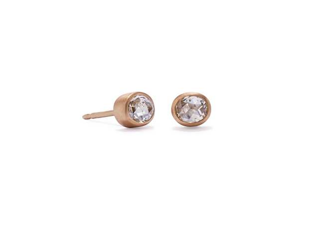 Oval Rose Cut Diamonds Studs