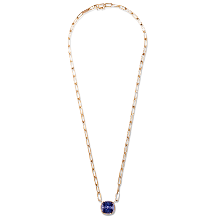 Rectangular Chain Necklace with Purple Sapphire
