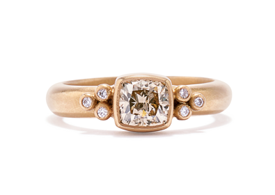 20K Peach Gold Tania Cushion Diamond Ring