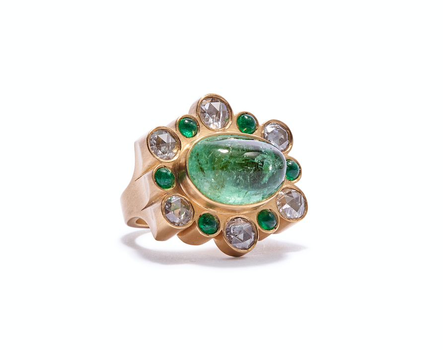 One of a Kind Oval Emerald Ring with Rose cut Diamonds