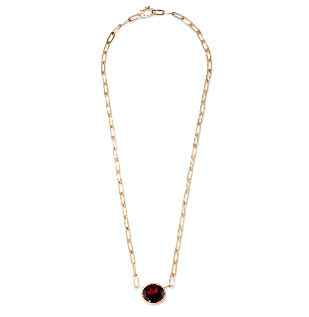 Johnny Oval Garnet Pendant Necklace, 17""