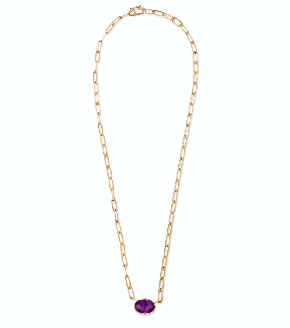 Johnny Oval Pink Sapphire Pendant Necklace, 18""