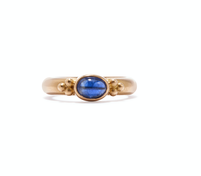 20K Peach Gold Tania Oval Blue Sapphire Ring