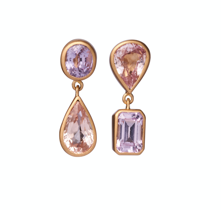 Double Mixed Pink Sapphire earrings