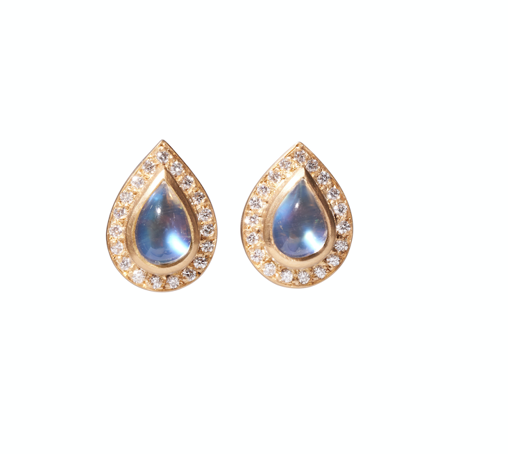 Teardrop Moonstone Sahara Earrings with Diamonds