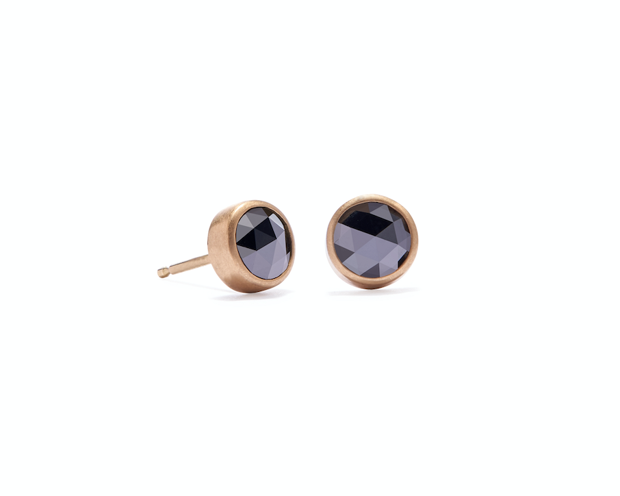 Bezel Studs with Black Rose Cut Diamonds