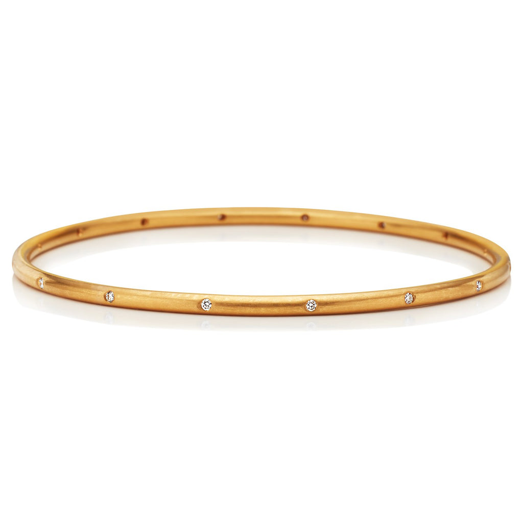 22K Apricot Gold Hoopstock Bangle with Diamonds
