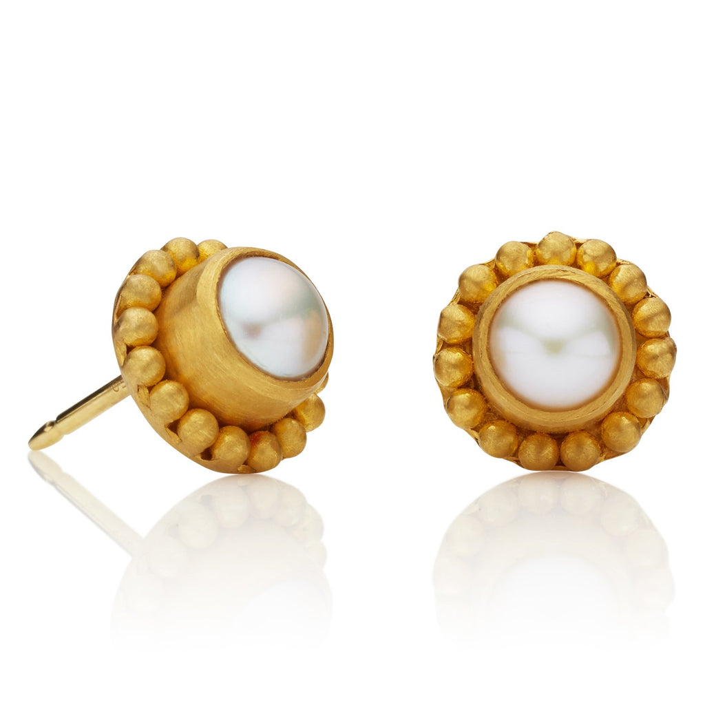 Classic Earrings with White Fresh Water Pearl
