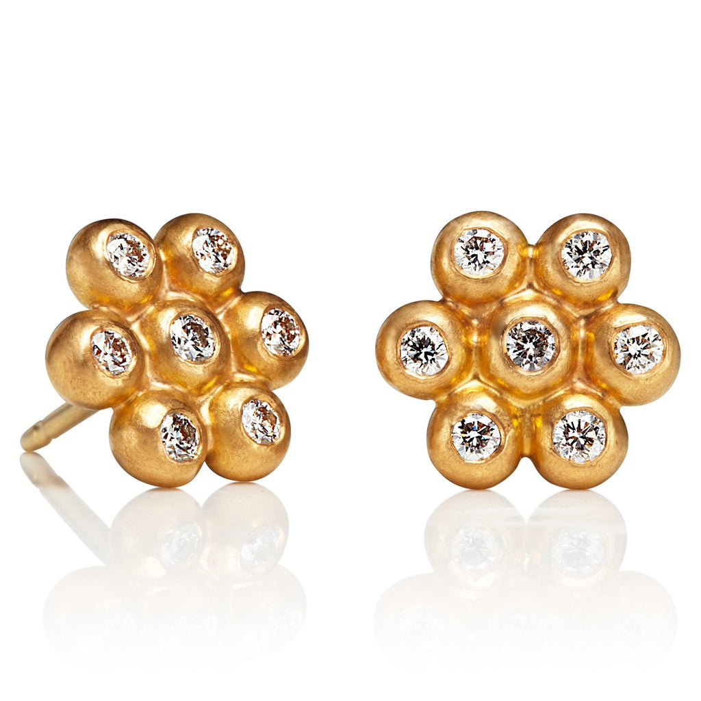 22K Apricot Gold Large Snowdrop Studs