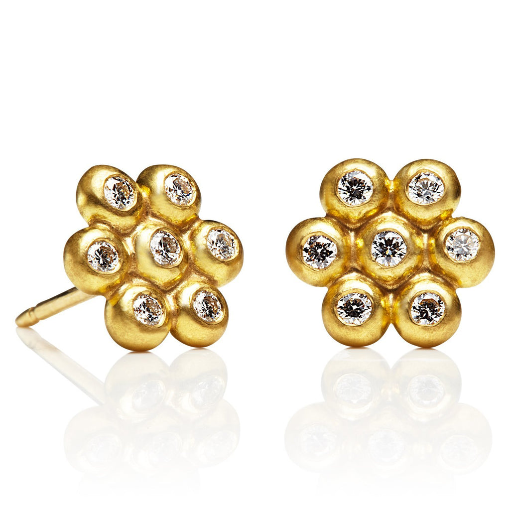 20K Peach Gold Large Snowdrop Studs