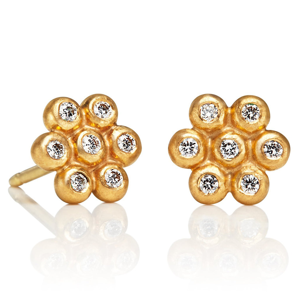 22K Apricot Gold Small Snowdrop Studs