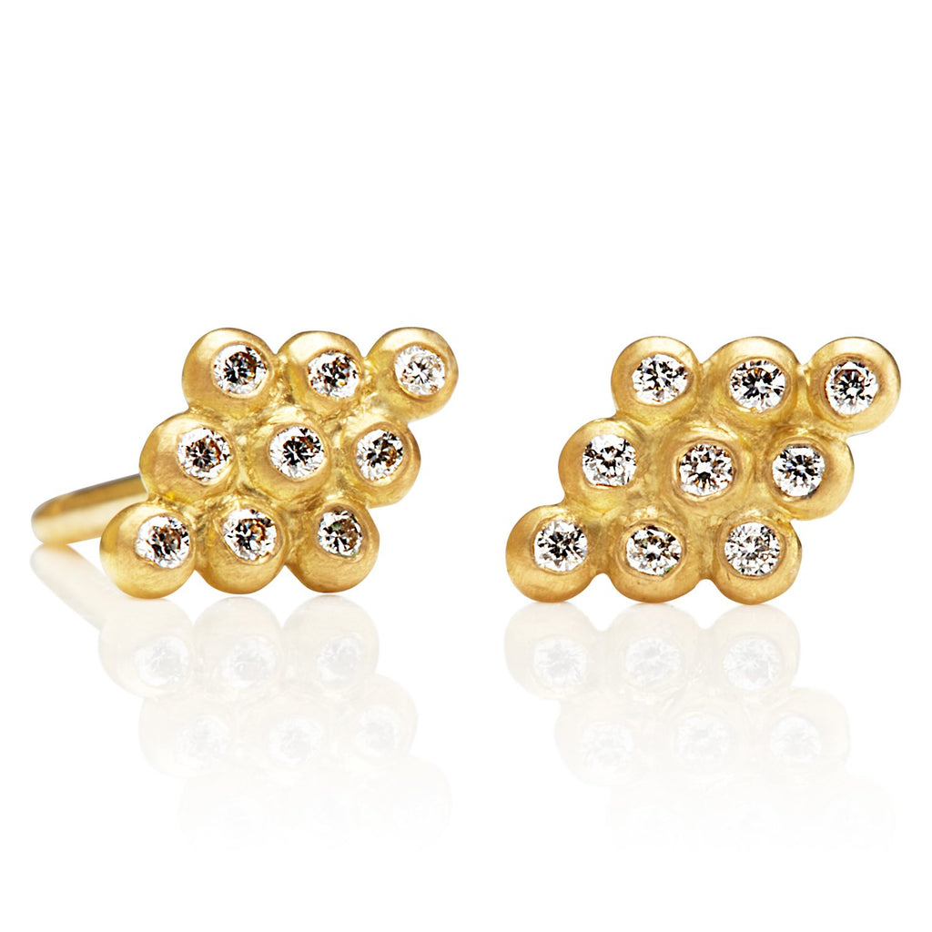 20K Peach Gold Small Kite Studs with Diamonds