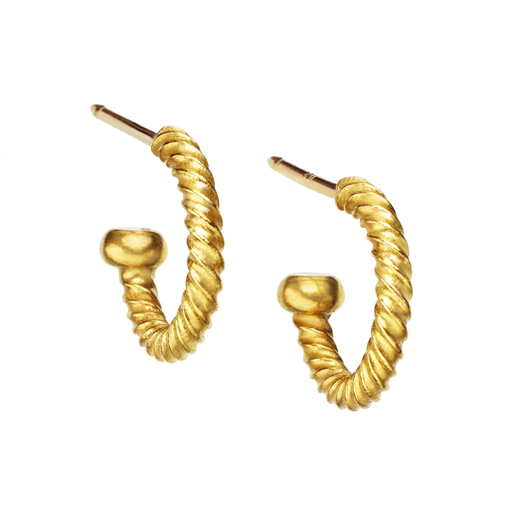 22K Yellow Gold Twisted Baby Hoops
