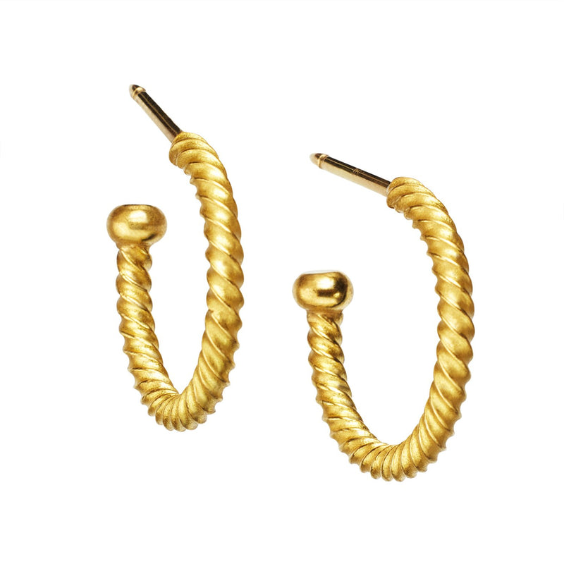 22K Yellow Gold Twisted Regular Hoops