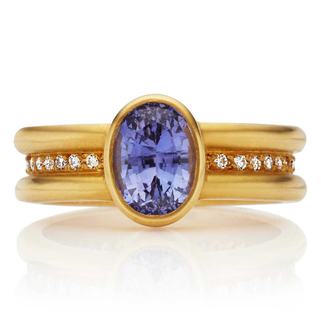 20K Peach Gold Shimmer Mini Ring with Light Purple Sapphire