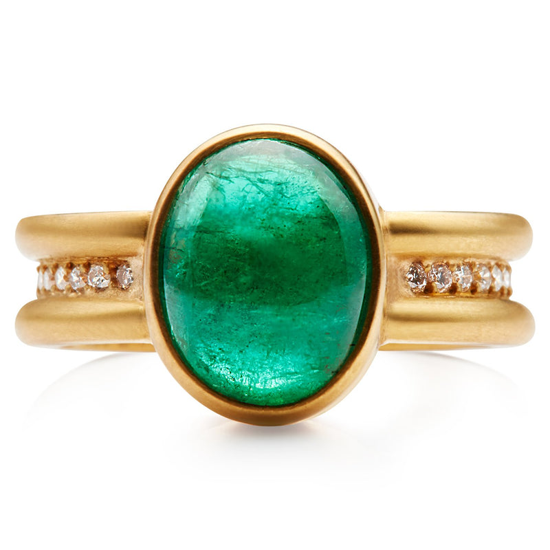 22K Apricot Gold Shimmer Mini Ring with Emerald