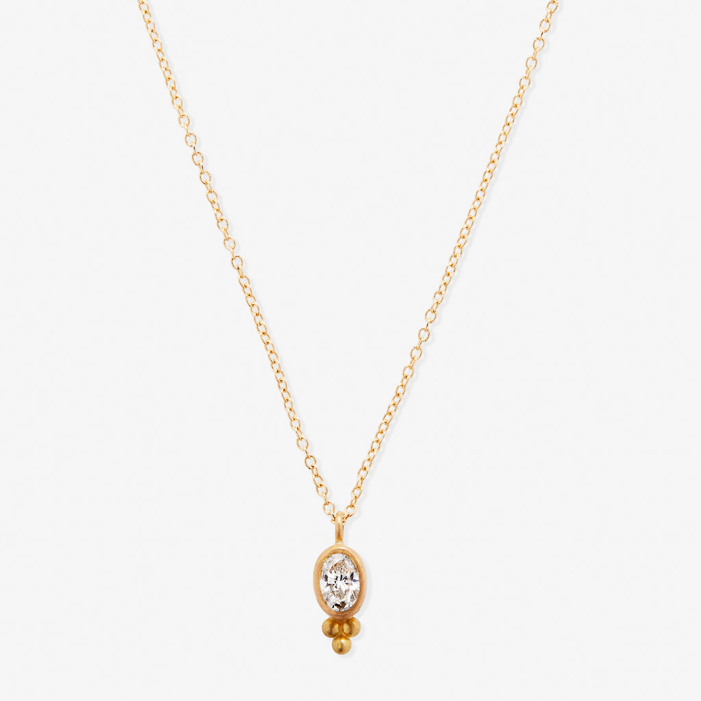 Tania Oval White Diamond Pendant Necklace
