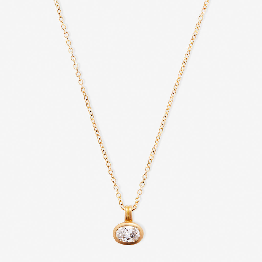 Dyan Oval Diamond Pendant Necklace