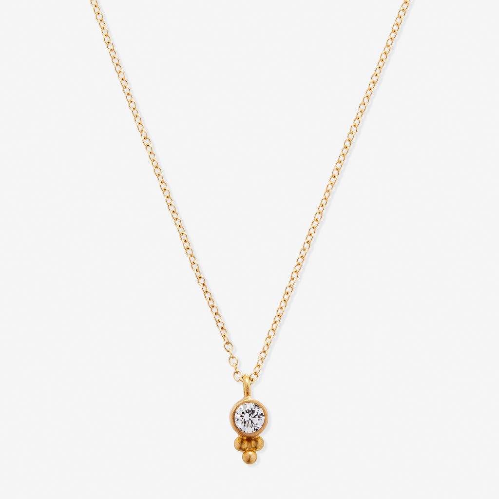 Tania Round White Diamond Pendant Necklace