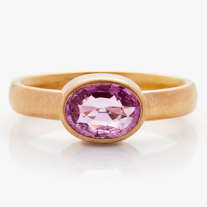 20K Peach Gold Sonoma Ring with Pink Sapphire