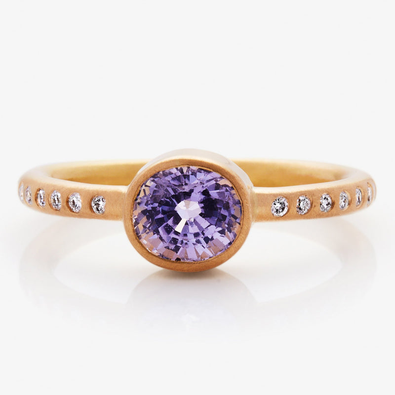 20K Peach Gold Hoopstock Ring with Purple Sapphire and Diamonds