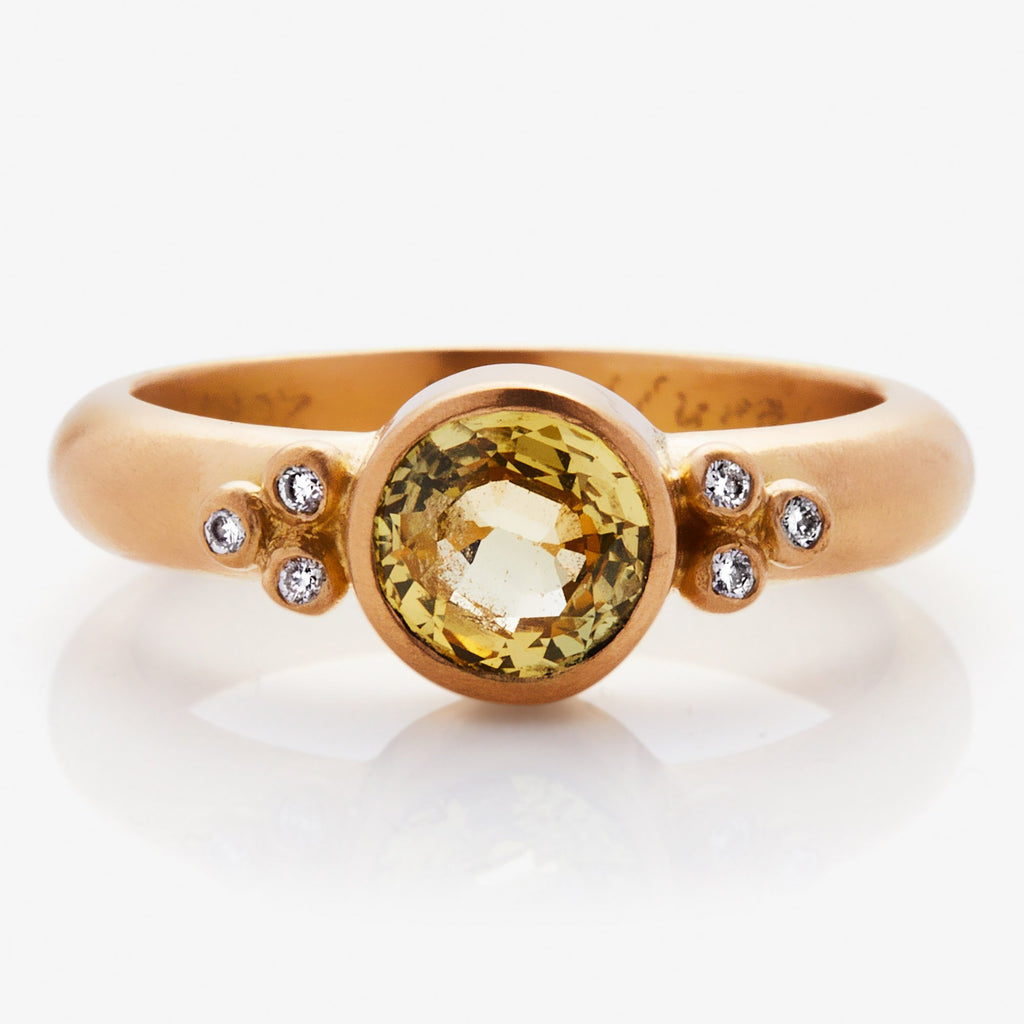 22K Apricot Gold Tania Ring with Chartreuse Sapphire and Diamonds
