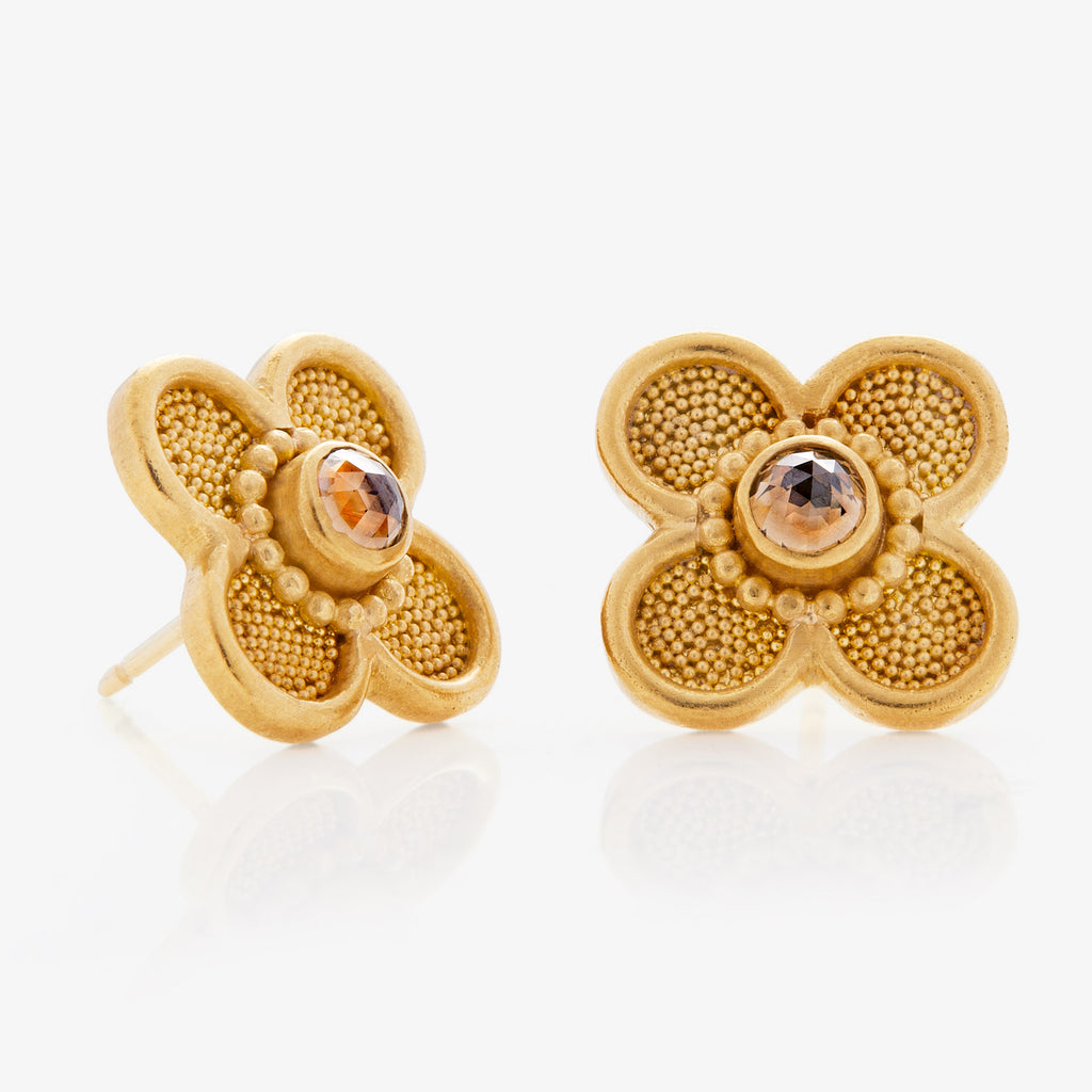 22K Yellow Gold Clover Studs with brown diamonds