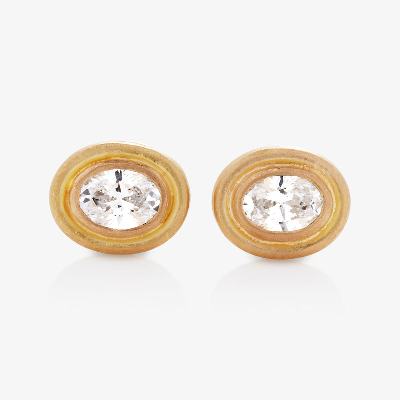 Dyan Small Oval Diamond Studs