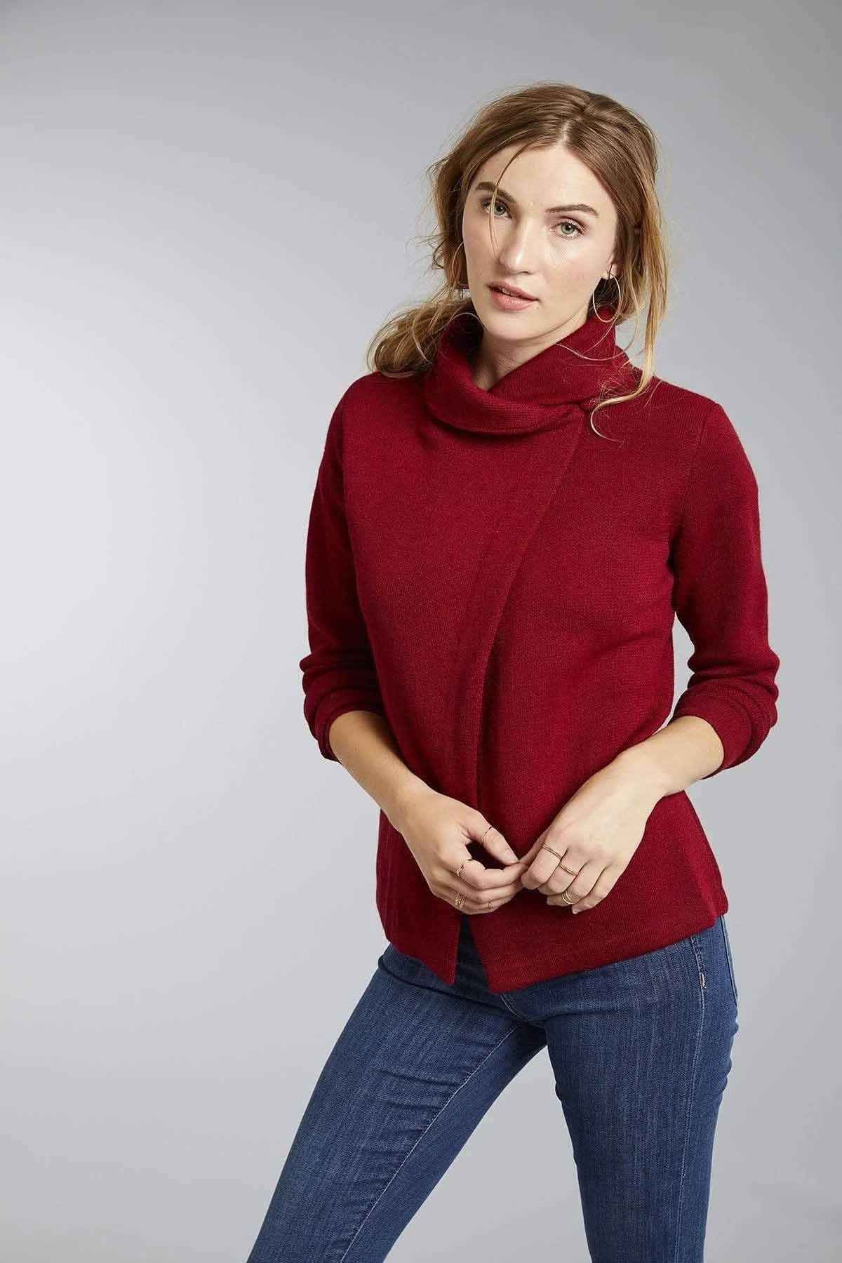 Invisible World Women's Cardigan Red / Small Bianca Crossover Baby Alpaca Wrap Cardigan for Women
