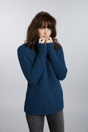 Invisible World Womens Alpaca Sweater Pullover Blue Green / X-Small Brushed Baby Alpaca Turtleneck Sweater for Women