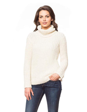Invisible World Womens Alpaca Sweater Pullover Ivory / X-Small Brushed Baby Alpaca Turtleneck Sweater for Women