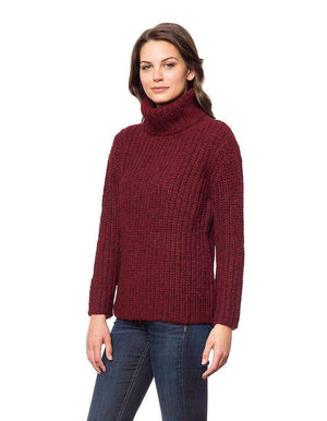 Invisible World Womens Alpaca Sweater Pullover Scarlet / X-Small Brushed Baby Alpaca Turtleneck Sweater for Women
