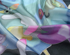 Invisible World Silk Scarves Hand Painted Silk Paj Neck Scarf - Black Lotus
