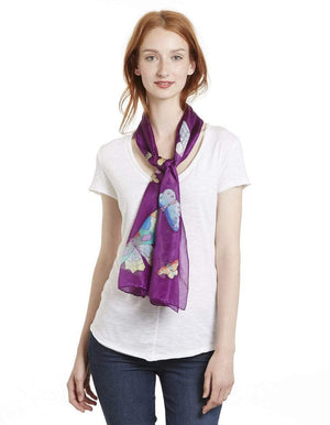 Invisible World Silk Scarves Hand Painted Silk Paj Neck Scarf - Butterfly