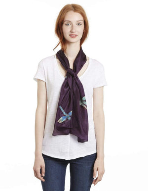 Invisible World Silk Scarves Hand Painted Silk Paj Neck Scarf - Dragonfly