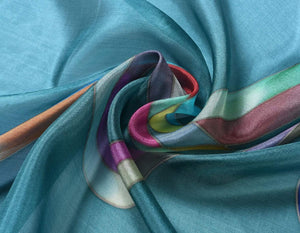 Invisible World Silk Scarves Hand Painted Silk Paj Neck Scarf - Ribbons