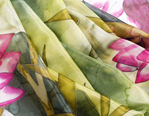 Invisible World Silk Scarves Hand Painted Silk Paj Neck Scarf - Water Garden